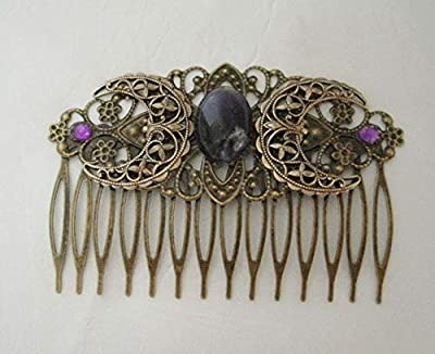 Amethyst Triple Moon Goddess Comb, wiccan pagan wicca witch witchcraft handmade jewelry