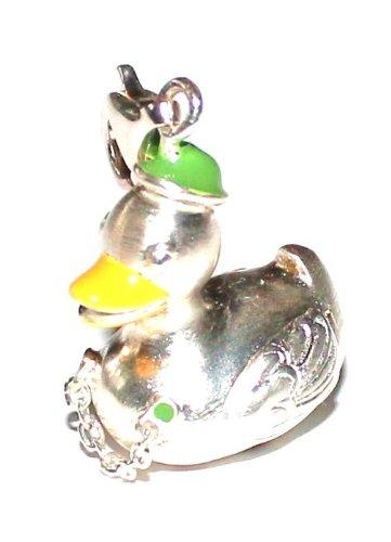 Charms Wiesn Quietscheentchen Ente 3D mit Hütchen und Charivari 925 Silber