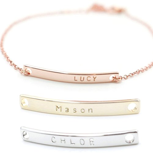 Personalized Gift Name Bar Bracelet 16K A Hand Stamped Plated bridesmaid Wedding Graduation Birthday Anniversary Mothers day Gift Best Graduation Day gift