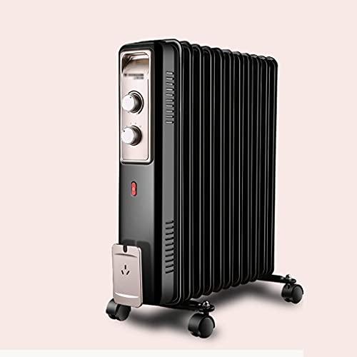 Calentador eléctrico Radiador de aceite portátil de 2000 vatios, calentador eléctrico de doble perilla, con oscilación automática, termostato incorporado y 2 configuraciones de calor, rejilla de secad