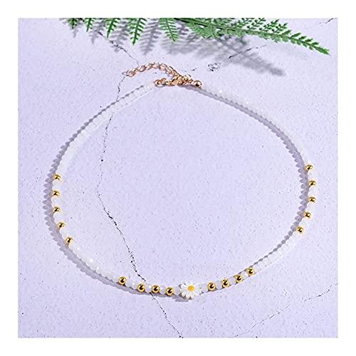 SAIO Cáscara Natural de Mariposa Gargantilla Cruz Pescado Margarita Moda Colgante Colgante Collar de Cristal joyería Boho Streetwear (Metal Color : Daisy)