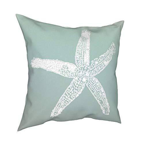 Fundas de almohada decorativas de espuma de mar, diseño de estrella de mar, color verde, para sofá, cama, decoración de vacaciones, 45,7 x 45,7 cm