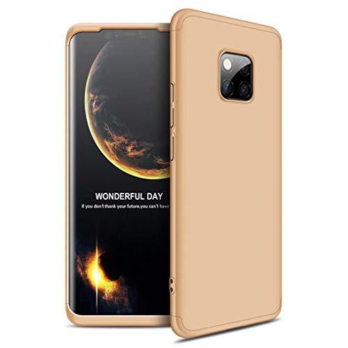 FHXD Hoesje voor Huawei Mate 20 Pro Schokbestendige 360° Beschermhoes [Screen Protector] Mat Ultradunne PC Harde Schaal Telefoonhoes Krasbestendig 3 in 1 Cover Case-Gouden