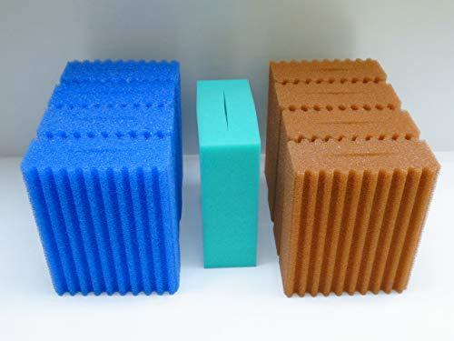 Steppan 9 Filterschwämme 4 x Blau gewellt 4 x Rot gewellt und 1 x Grün glatt passend für Oase Biotec 10.1. und Oase BioSmart 36000