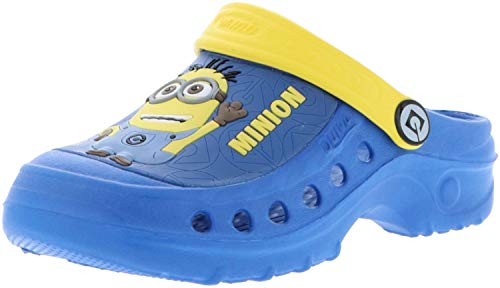 Quiva Kinder Mädchen Jungen Clogs Slipper Minions Mehrfarbig/blau/gelb, Farbe:Blau, Größe:28
