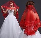 velo de novia,vestidos de novia,vestido de novia,tocados de boda,Accesorios de boda,Mujeres novia nupcial rojo Halloween boda cabeza pelo encaje fiesta velo sin peine