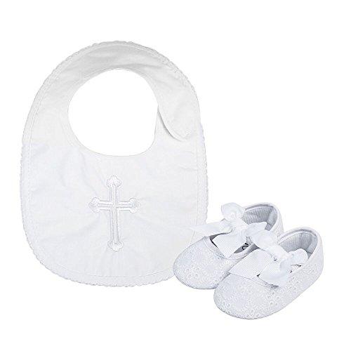 LACOFIA Baby Mädchen rutschfest Weiche Sohle Bowknot weiß Taufe Schuhe mit Bestickten Kreuz Taufe Lätzchen 6-12 Monate