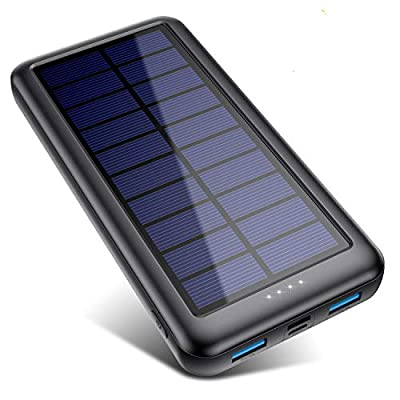 QTshinee Solar Power Bank Type C & Micro USB Inputs, Solar Portable Charger 26800mAh External Backup Battery Pack Fast Charge 2 USB Outputs for iPhone Android, iPad, Camera, Outdoor Activities