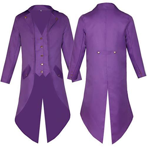 HUNTFORGOOD Herren Frack Mantel Steampunk Gothic Gehrock Jacke Cosplay Viktorianischen Langer Mantel Uniform Kostüm