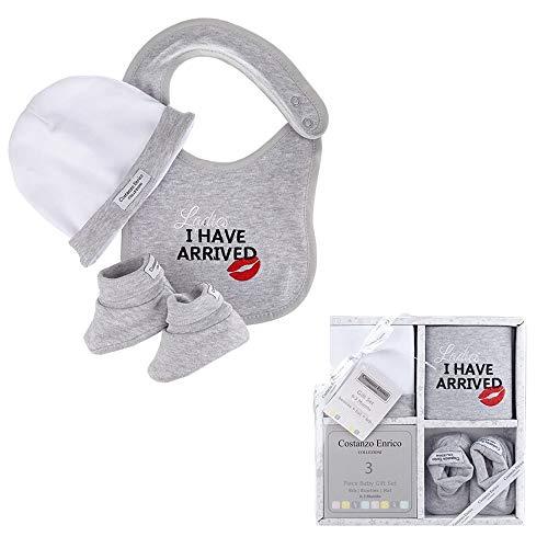 Set regalo unisex da 3 pezzi per neonato dello stilista Costanzo Enrico (Ladies I Have Arrived)