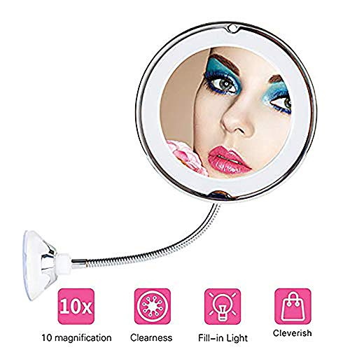 Flexible Mirror with Suction Cup and Light 10X Magnifying