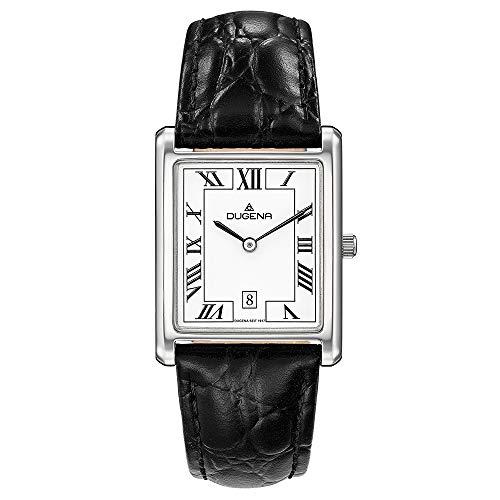 DUGENA Unisex-Armbanduhr 4460699 Quadra Classica, Quarz, weißes Zifferblatt, Edelstahlgehäuse, gehärtetes Mineralglas, Lederarmband, Dornschließe, 3 bar