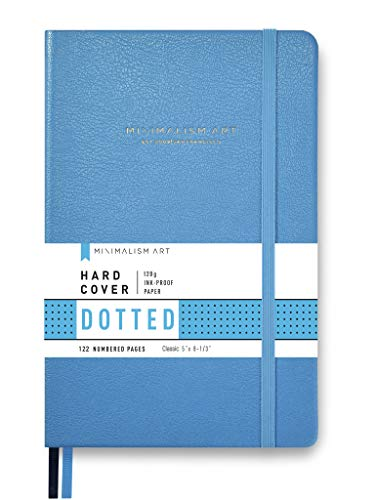 Minimalism Art, Premium Hard Cover Notebook Journal, Small Size, Classic 5' x 8.3', 122 Numbered Pages, Gusseted Pocket, Ribbon Bookmark, Extra Thick Ink-Proof Paper 120gsm (Dotted, Blue)