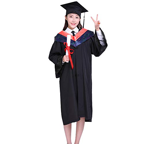 ZEVONDA Bachelor,Undergraduate,Doktorand,Doktorand,Unisex Graduierung Kleid,Hut Quaste Anzug,Rot Collar,EU XS=Tag S