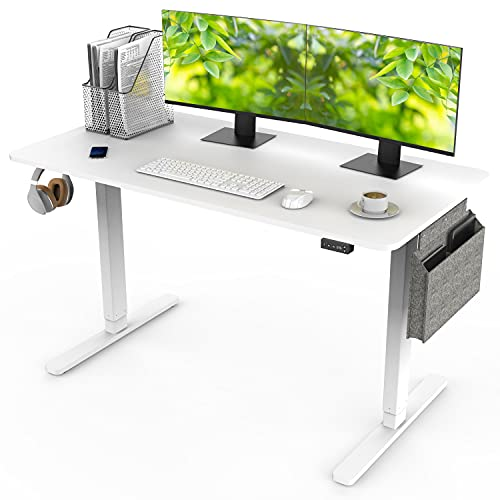 Electric Standing Desk Adjustable Height Stand Up Desk, Ergonomic Sit Stand Desk for Home Office, 55''(L) x 28''(W) Computer Desk - White