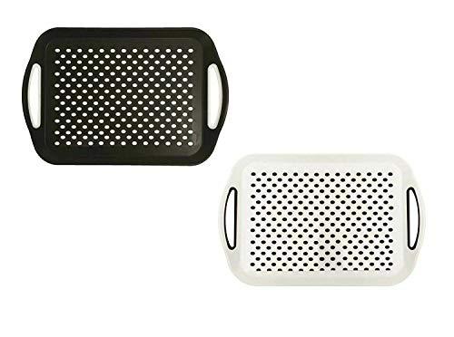Lot de 2 plateaux de service rectangulaires antidérapants en plastique avec surface en caoutchouc haute adhérence, poignées faciles à prendre en main, noir et blanc