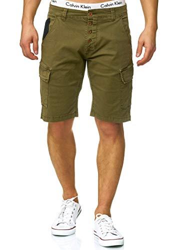 Indicode Herren Hedworth Chino Cargo Shorts mit 7 Taschen aus 98{d188c34aedb586538b2ca8577d46d734f89e31e6e76a2337ccbce3a11d27fa83} Baumwolle | Kurze Stretch Hose Regular Fit Bermuda Herrenshorts Men Short Pants Chinohose Cargohose für Männer Army XL