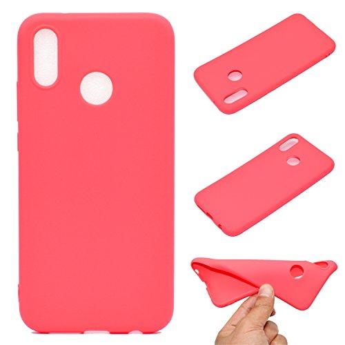 xingting EU Coque Compatible avec Huawei P20 Lite TPU Étui de,Couleur Unie Protection Housse en Souple Silicone TPU Ultra Mince et Anti-Rayures de Protection Etui- Rouge
