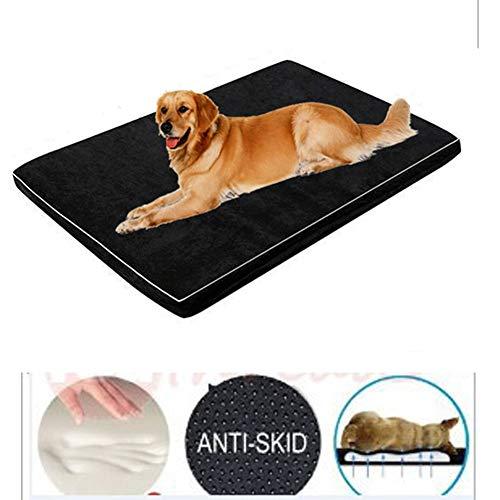 ZHSHOUCHENG Deluxe opslag katoenen hondenkussen hondenbedden, orthopedische langzame ontspanning, rustig zwinger, afneembaar en wasbaar, antislip/zwart, geschikt voor grote huisdieren