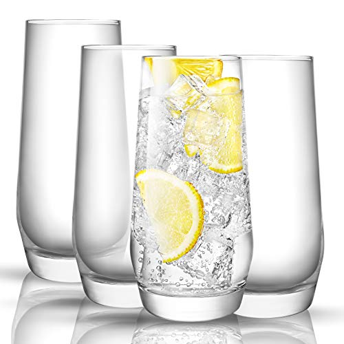 JoyJolt Gwen Highball Glasses Set of 4 Tall Drinking Glasses