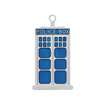 Enamel Dr Who Police Box Charm Pendants Blue/Silver 50mm Pack of 2