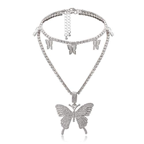 Cinsionze Women's Big Butterfly Pendant Necklace Luxury INS Stylish Dual Layers Cubic Zirconia Rhinestone Embedded Silver Golden Plated Cuban Chains Necklace Adjustable for Women and Girls (Silver)
