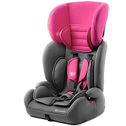 Kinderkraft Kinderautositz CONCEPT, Autokindersitz, Autositz, Kindersitz, Gruppe 1/2/3 9-36kg, 5-Punkt-Sicherheitsgurt, Einstellbare Kopfstütze, ECE R44/04, Rosa