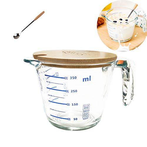 PLHMS glazen maatbeker met deksel, Food Grade Glas maatbeker Pot Kettle, verdik glas, magnetron, koelkast kluis, 1000 ml