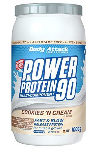 Body Attack Power Protein 90, 5K Eiweißpulver mit Whey-Protein, L-Carnitin und BCAA für Muskelaufbau und Fitness, Made in Germany (Cookies n Cream, 1 kg)