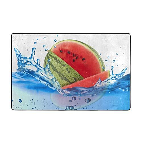 Wdoci Alfombra de baño,Alfombra de baño con Estampado de Tema de Vida Vegana de sandía 45cmx75cm
