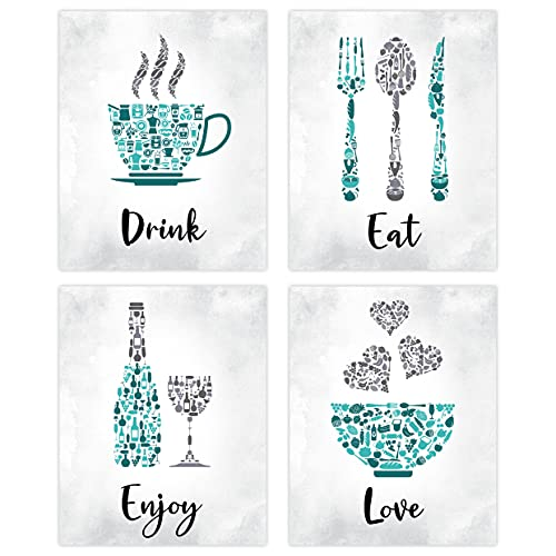 Teal Kitchen Wall Art Decor - Set of 4 Unframed Prints (8x10 Inch) Turquoise Kitchen Accessories Living Dining Room