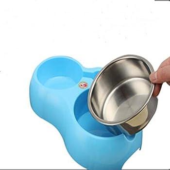 Amovible en Acier Inoxydable Hanging Bowl Dog Cat Bowl et distributeur d'eau,chien/chat Inoxydable Animal Gamelle (bleu)