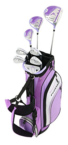 Precise M3 Ladies Womens Complete Golf Clubs Set Includes Driver, Fairway, Hybrid, 7-PW Irons, Putter, Stand Bag, 3 H/C's Purple - Regular, Petite or Tall Size! (Petite Size -1