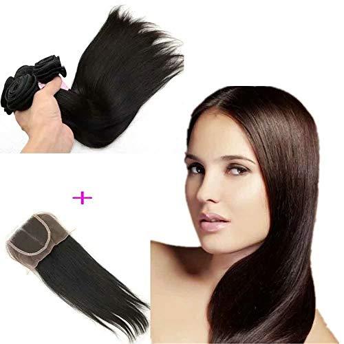 Queengirl Péruvien Cheveux Raides 3 Bundles Avec Fermeture 100% Raw Virgin Armure de Cheveux Humains 4x4 Top Dentelle Fermetures Couleur Naturelle 16