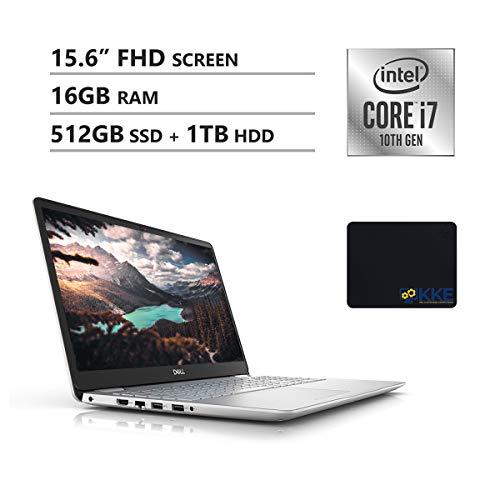 Dell 2020 Inspiron 5000 Series 15.6'' FHD Laptop, 10th Gen Intel Quad-Core i7-1065G7, 16GB DDR4 RAM, 512GB PCIe SSD + 1TB HDD, HDMI, Wireless-AC, Backlit Keyboard, Windows 10, Silver, KKE Mouse Pad