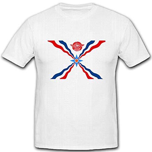 Assyrische Flagge Fahne Abzeichen Emblem Wappen - T Shirt #3634, Größe:Herren 3XL, Farbe:Weiß