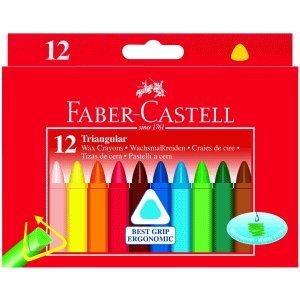 Faber-Castell Wachsmalkreiden Dreikant mit Papierbanderole 12 Farben sortiert.