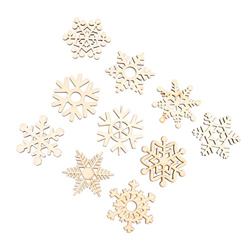 PIXNOR Fiocco di neve di natale decorazioni albero di Natale ornamenti di legno appeso, confezione da 10