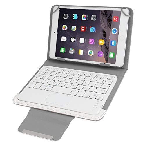 YANTAIAN Accesorios de tabletas Universal Funda magnéticade Cuero de Teclado Desmontable Bluetooth con Soporte for 7 Pulgadas ISO y Android y Windows Tablet PC (Color : Blanco)