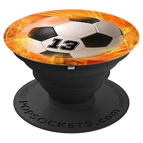 Soccer Number 13 Lucky Number Fire Flame - Soccer - PopSockets Grip and Stand for Phones and Tablets