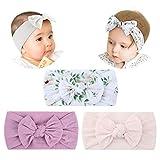 Makone Baby Stirnband, Stretchy Strick Haarband mit Schleifen Pom Pom Bun 5,5 Zoll große Haarschleife Stirnband für Kleinkinder Baby (White)