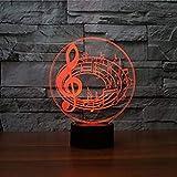 3D Illusion Notas musicales Lámpara luces de la noche ajustable 7 colores LED...