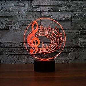 3D Illusion Notas musicales Lámpara luces de la noche ajustable 7 colores LED Creative Interruptor táctil estéreo visual atmósfera mesa regalo para Navidad
