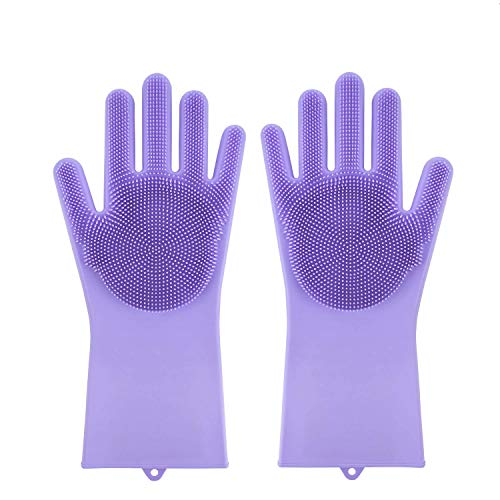 UMyhou Magic Saksak Wiederverwendbare Silikon-Handschuhe mit Washer hitzebeständig Handschuhe Küchenhelfer für Reinigung, Haushalt, Geschirrspülen, Autowäsche, Tierpflege (1 Paar) (Purple)