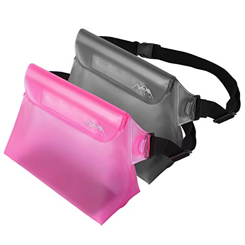 SMARTAKE 2-Pack Waterproof Pouch with Waist Strap, Durable Dry Bag for Phone, Valuables and Wallet, Waterproof Bag Case for Swimming, Boating, Snorkeling Fishing and Beach, Pink and Grey