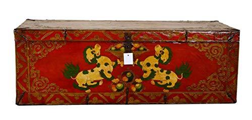 Fine Asianliving Chinesische Aufbewahrungskiste Orientalische Möbel Truhe Holztruhe Dekotisch Truhenbank Massiv Holz Groß Deckel Couchtisch Tischtruhe Sitztruhe Truhe Antik 121 x 42 x 48cm