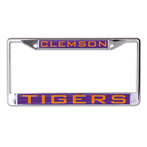 WinCraft NCAA Clemson Tigers Inlaid Metal License Plate Frame, 2-Tag Corners