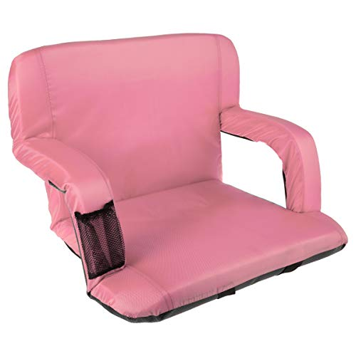 Home-Complete Wide Stadium Seat Chair Bleacher Cushion with Padded Back Support, Armrests, 6 Reclining Positions and Portable Carry Straps, Pink