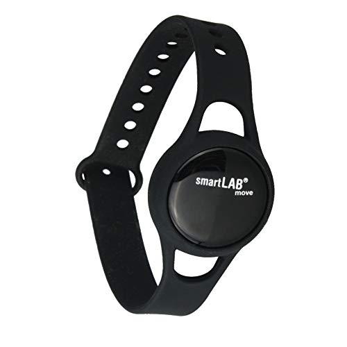 smartLAB Move B 3D Schrittzähler mit Bluetooth | Fitness Armband mit App | Fitness Tracker klein, handlich, für iOS und Android. Auch für Krankenkassen Bonus-Programm geeignet (Schwarz)