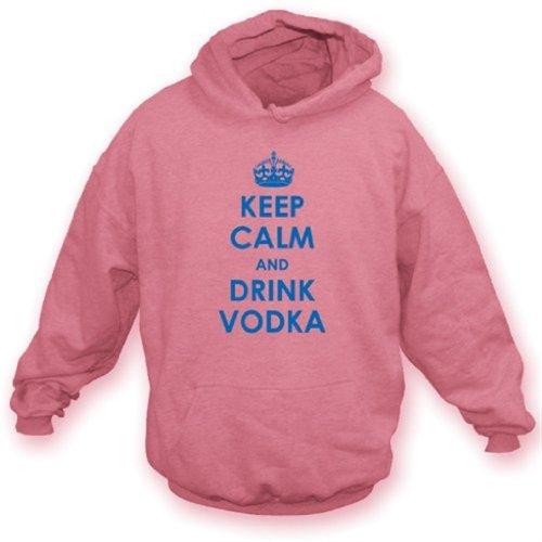 TshirtGrill Mantenga Tranquilo y beba la Sudadera con Capucha X-Grande, Rosa de la Vodka del Color